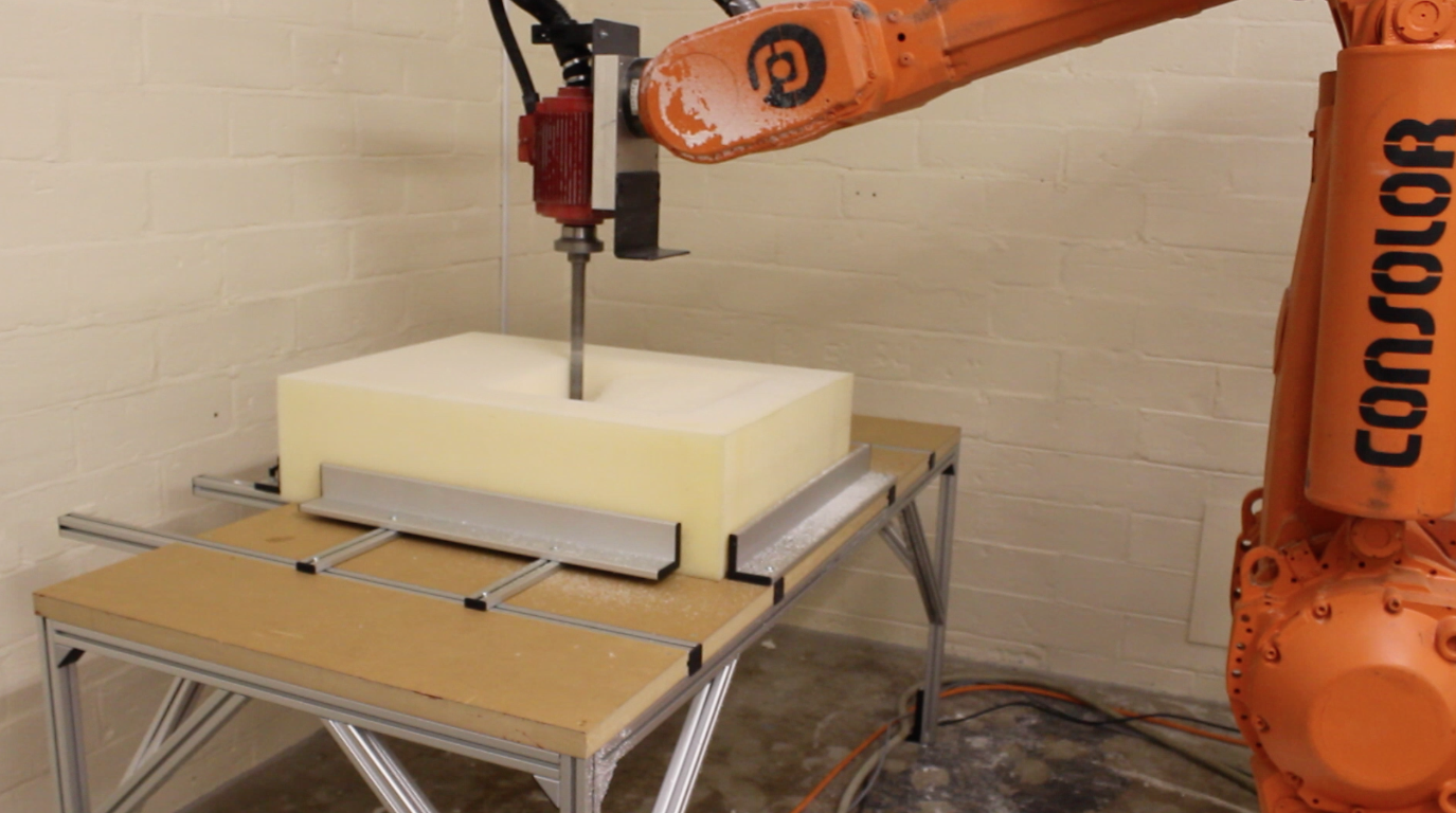 The Consolor robot carving foam for a new consolor bespoken wheelchair cushion (Full Size)