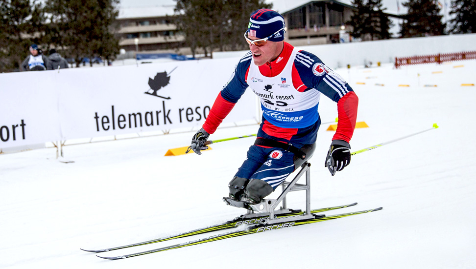 Adaptive cross country nordic sit skiier amputee (Full Size)